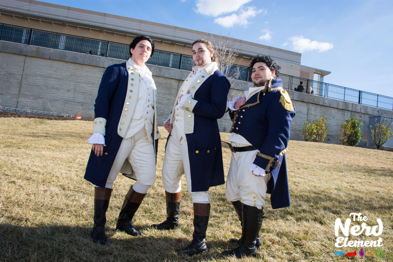 Alexander Hamilton, John Lauren, and General Lafayette - Hamilton Cosplayers: @nightengale37 (ig) @jennstiel (ig), and @thedoctorboy (ig)